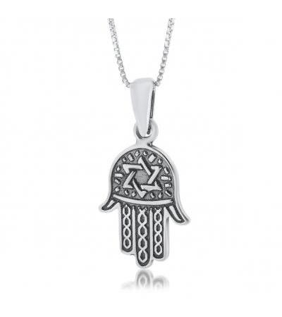 Silver Hamsa Necklace with Star of David