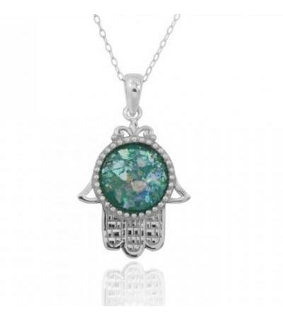 Silver Hamsa dengan Center Round Roman Glass
