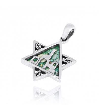 Silver Jerusalem Star of David Pendant with Roman Glass