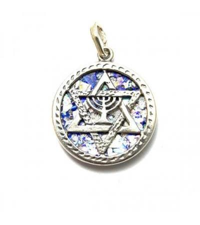 Silver Menorah Star of David on Roman Glass Necklace