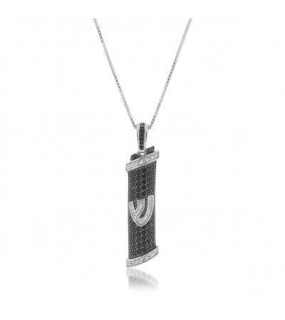 Silver Mezuzah Necklace with Black Zirconia Plating