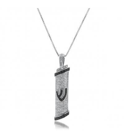 Silver Mezuzah Necklace with White Zirconia Plating