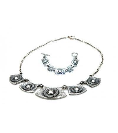 سلور Necklace & Bracelet Set، Framed Crystals - Anava Jewelry