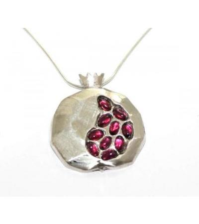 Silver Pomegranate Pendant with Egg Garnet Stones
