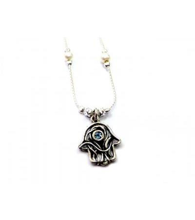 Silver Shablool Intergwined Hamsa Necklace oo leh Blue Stone
