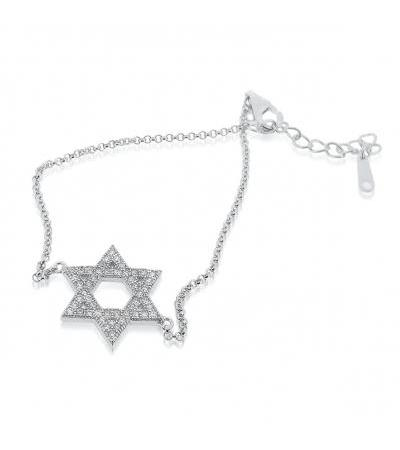 Srebrna zvijezda Davidove narukvice s cirkonijem