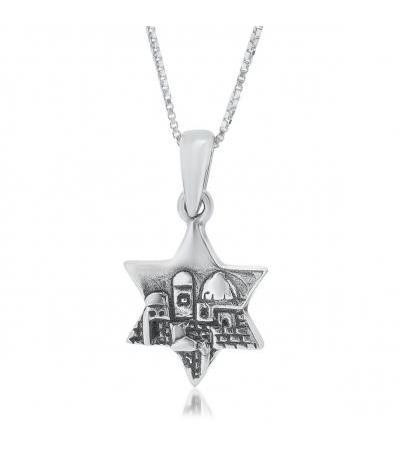 Silver Star of David Necklace Jerusalem Skyline Design