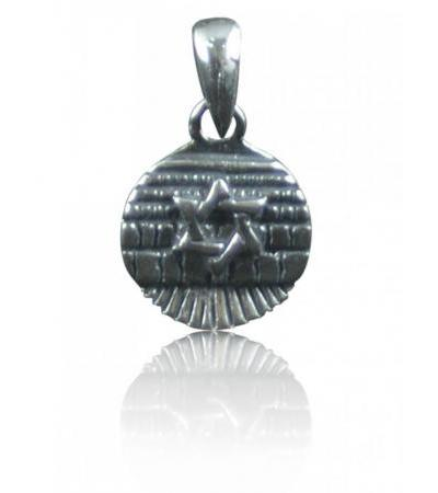 Silver Star of David Necklace on a West Wall Medallion