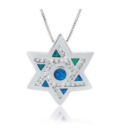 Silver Star of David Necklace with Opal and Zirconia
