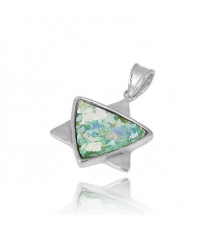 Silver Star of David Pendant with Roman Glass