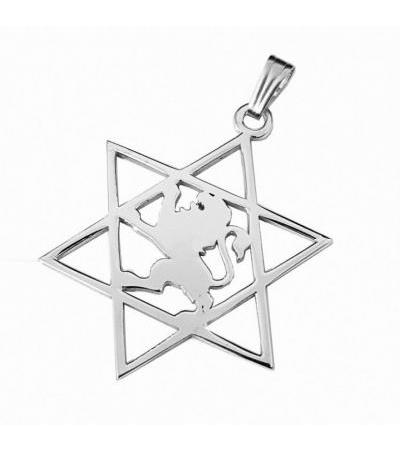 Silver Star of David nrog Lion Lion of Judea