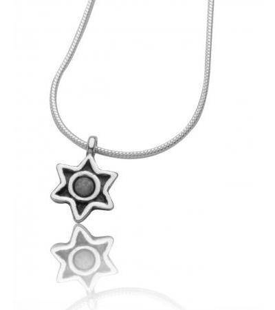 Star of David Necklace Round Frame Silver Sterling Silver Frame