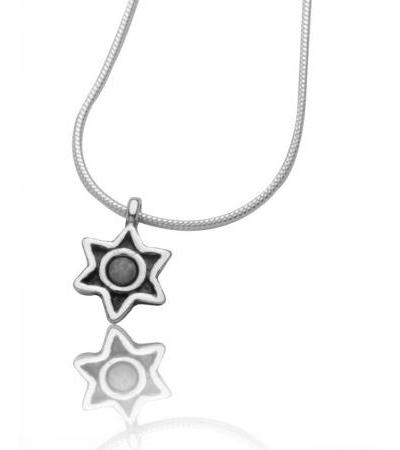 Star of David Necklace Round Opal Stone in Sterling Silver Frame