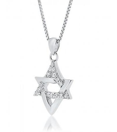 Star of David Necklace Silver me Zirconia Interlock