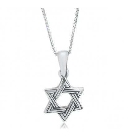 Star of David Necklace Sterling Silver Interwoven Stripes Design