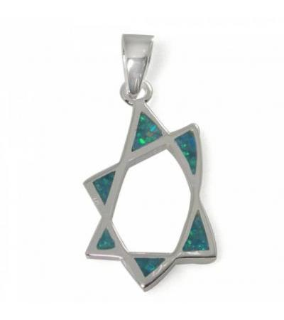 Star of David Necklace oo leh Silver, Silver & Opal