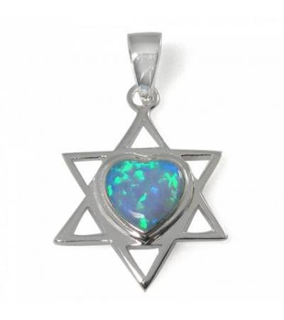 Naszyjnik Star of David z połączeniem serca, srebrem i opalem