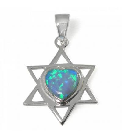 Star of David Necklace with Heart Combination, Silver & Opal
