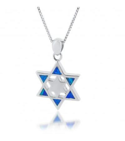 Star with in a Star Silver and Opal Star of David Pendant