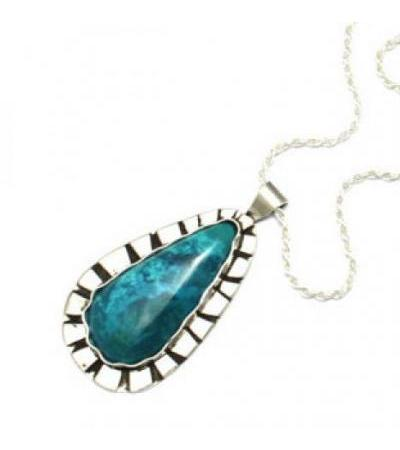 Starling Silver and Eilat Stoe Teardrop Shaped Necklace