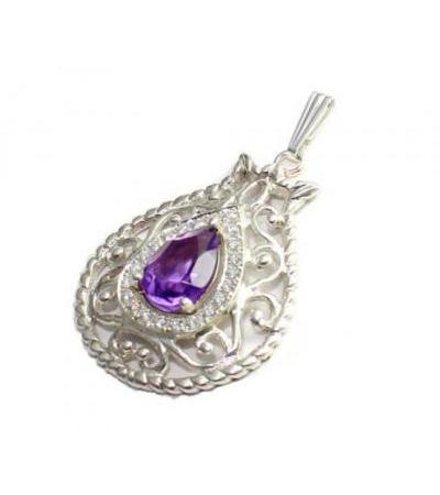 Sterling Silver Amethyst and Zircons Pomegranate Necklace