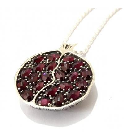 Sterling Silver and Garnet Stones Pomegranate Pendent