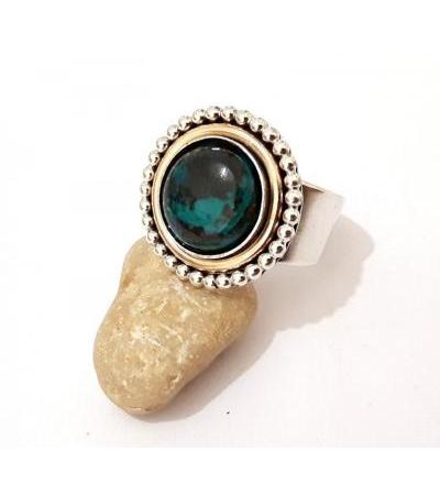 Sterling Silver and Goldfield Round Framd with Eilat Stone Ring
