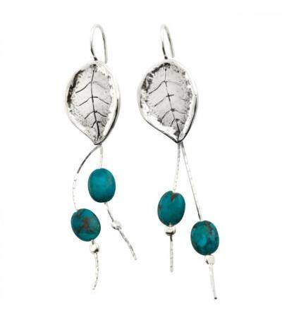 Sterling Silver եւ Turquoise Stone Leaf Earrings