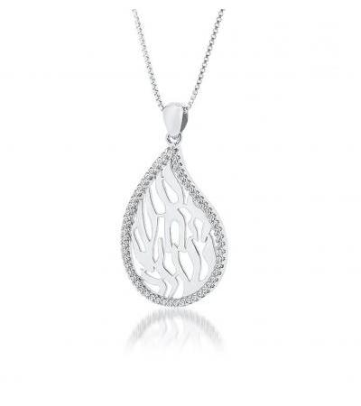 Sterling silver and White Zirconia My Flame Necklace