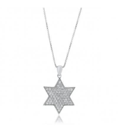 Sterling Silver and White Zirconia Star of David Necklace