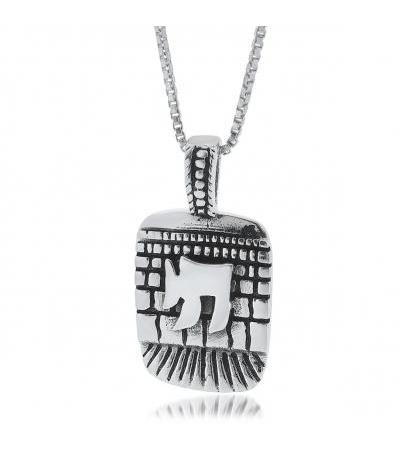 Sterling Silver Chai Necklace oo ku taal Western Wall Style Plaque
