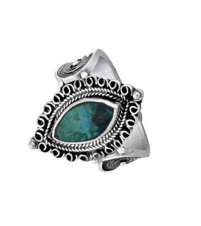Sterling Silver Eilat Stone Large Eye Shaped Filigree Ring