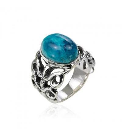 Sterling Silver Eilat Stone Oval Filigree Ring