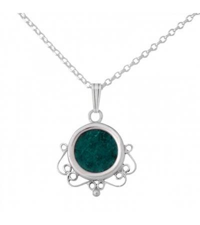 Sterling Silver Eilat Stone Round Necklace with Filigree Bottom Detail