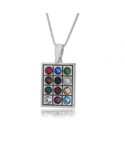 12 Tribes Stones Sterling Silver Plate Pendant