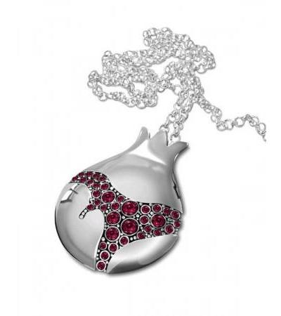 Sterling Silver Pomegranate Necklace with Garnet Stones