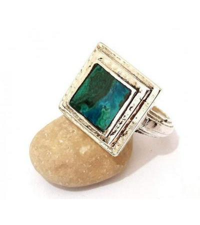 Sterling Silver Square Frame and Eilat Stone Ring