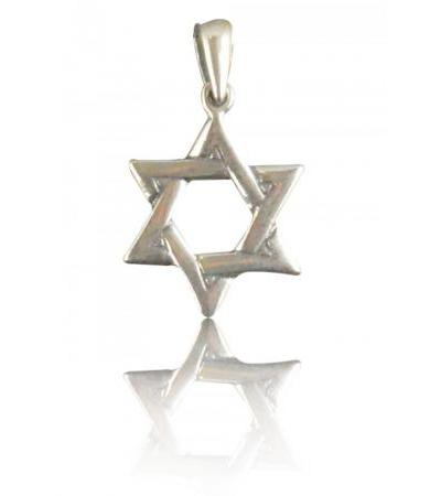 Sterling Silver Star of David Necklace Interwoven Style