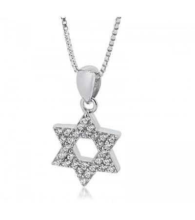 Sterling Silver Star of David Necklace with White Zirconia