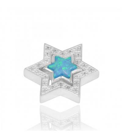 Sterling Silver Star of David Necklace with Zircon and Opal
