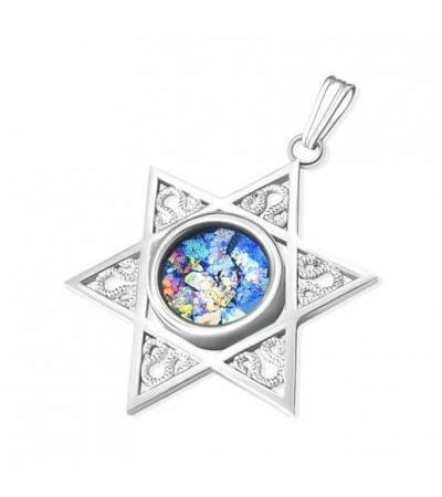 Sterling Silver Star of David with Faceted Roman Glass