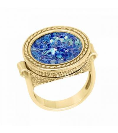 Stylish 14k Textured Gold Ring with Roman Glass