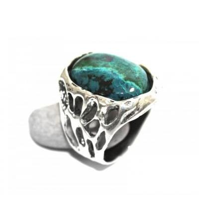 Textured Sterling Silver Ring with Eilat Stone