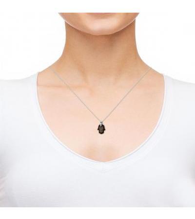 Modlitwa podróżnika White 14K Gold & Hamsa Onyx Necklace Nano Jewelry
